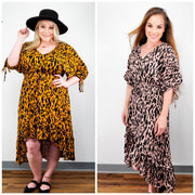 Animal Print Long Puff Sleeve V-Neck Midi High Low Ruffle Hem Dress with Waist Tie (S-2XL)