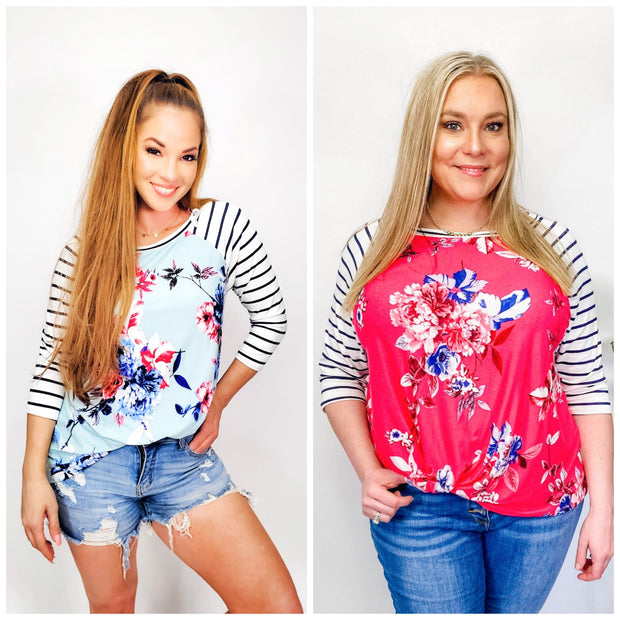 Floral Striped Side Twist Top (S-3XL)