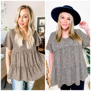 Irregular Ditzy Dot Printed Woven Top (S-3XL)