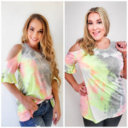 Tie Dye Top with Cold Shoulder and Ruffle Sleeves (S-3XL)
