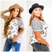 Leopard Top with Trim Detail (S-3XL)
