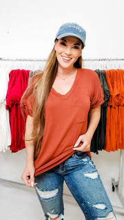 Perfect Boyfriend Short Sleeve Top with Front Pocket (S-3XL)