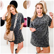 Easel - Washed Leopard Tunic Dress (S-3XL)
