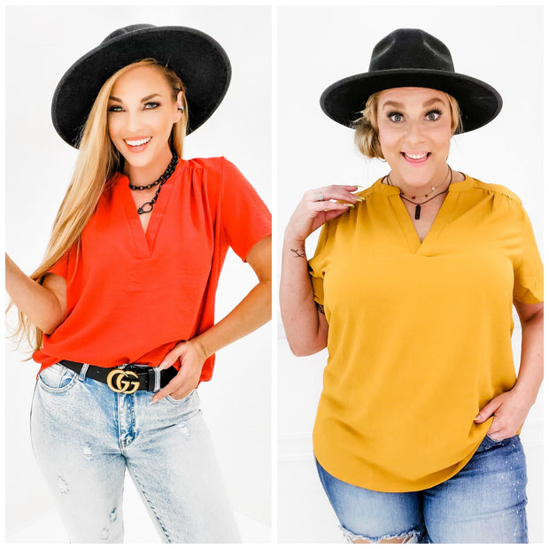 Cuffed Short Sleeve V-Neck Top (S-2XL)