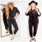 Solid Collared Button-Down Jumpsuit (S-3XL)