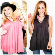 Raw Edge Ruffle Detail Top (S-2XL)