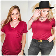 Doorbuster V-Neck Short Sleeve Top with Pocket (S-3XL)