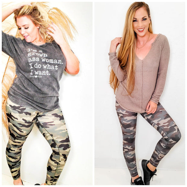 Camouflage Print Full Length Yoga Leggings (S-3XL)