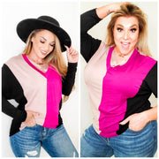 Long Sleeve Color Block Knit Top (S-3XL)