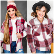 Long Sleeve Plaid Button Down Jacket (S-3XL)