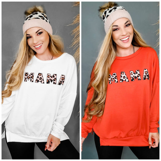Long Sleeve Leopard Mama Graphic Print Sweater