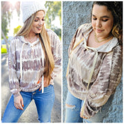 Long Sleeve V-Neck Detailed Hoodie Top (S-3XL)