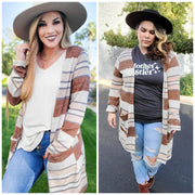 Long Sleeve Striped Cardigan (S-3XL)