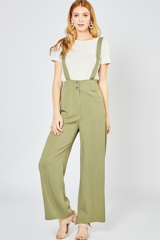 Suspender Jumpsuit in Olive with Zipper Closure