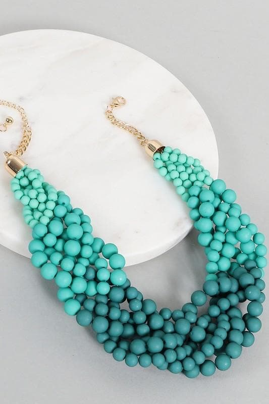 Ombre Color Cluster Statement Necklace
