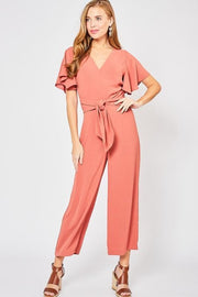 Solid V-Neck Jumpsuit with a Self-Tie Knot Detail at Waist