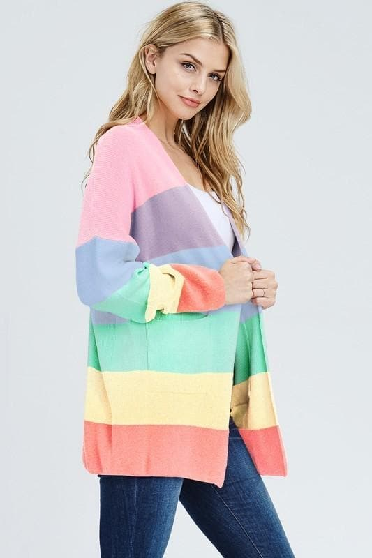 Somewhere Over the Rainbow Knit Cardigan with Pockets