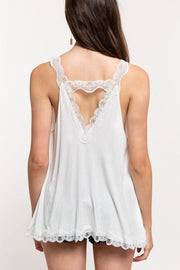 Pol - Lace Trim Halter Top with Back Strap Detail