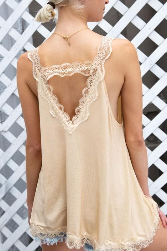 POL Lace Trim Halter Top with Back Strap Detail