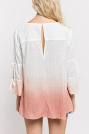 Dip Dye Lace Up Blouse with Split Long Sleeves