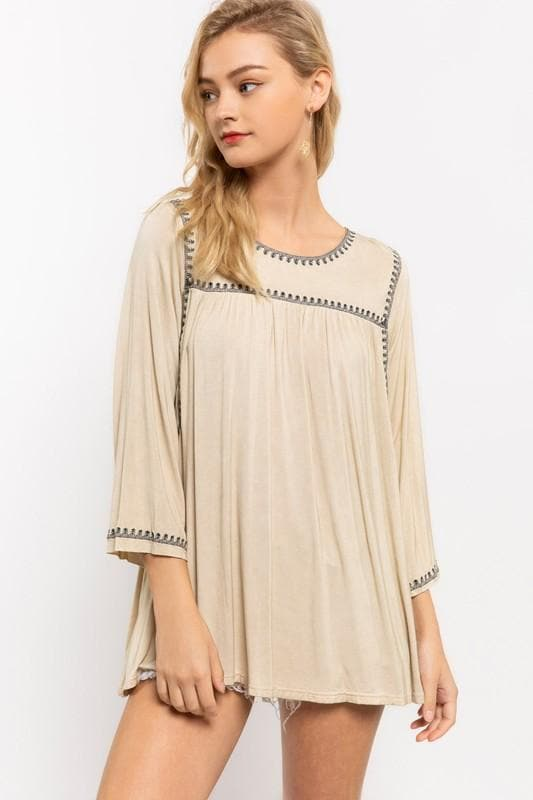 Pol - 3/4 Length Sleeve Boxy Top
