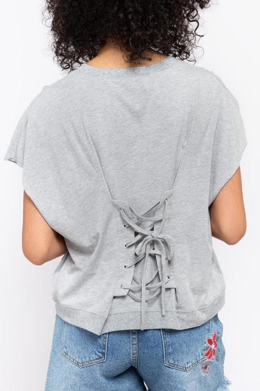 Pol - Short Sleeve, Round Neck, French Terry Top with Lace Up Detail on Back