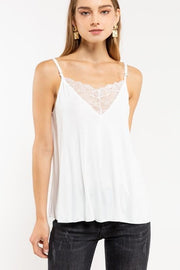 POL Cami with Lace V Neck and Adjustable Straps
