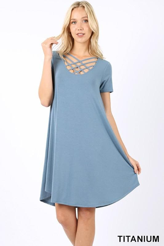 Plus Size Premium Short Sleeve Triple Lattice Swing Dress