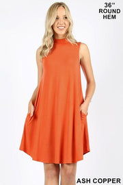 Doorbuster Mock Neck Sleeveless Dress with Pockets