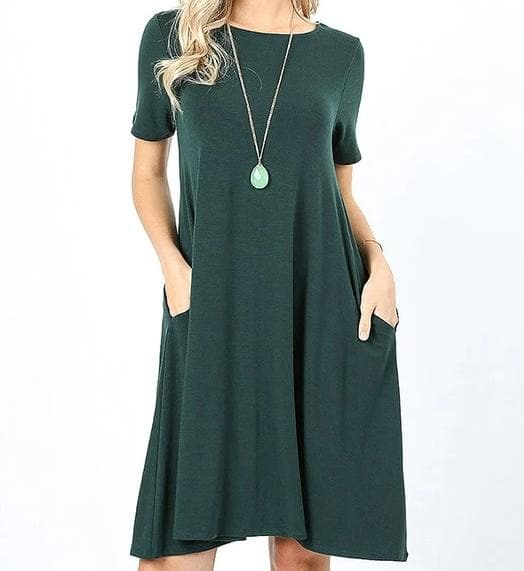 Plus Size Short Sleeve A-Line Dress with Pockets