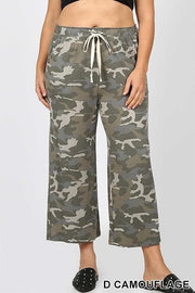 Plus Size Camouflage Cropped Lounge Pants