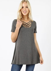 Triple Lattice Flowy Top