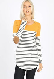 Doorbuster Striped and Solid Color Block Long Sleeve Top