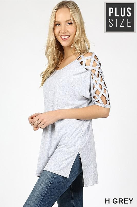 Plus Size Cage Sleeve High Low Top