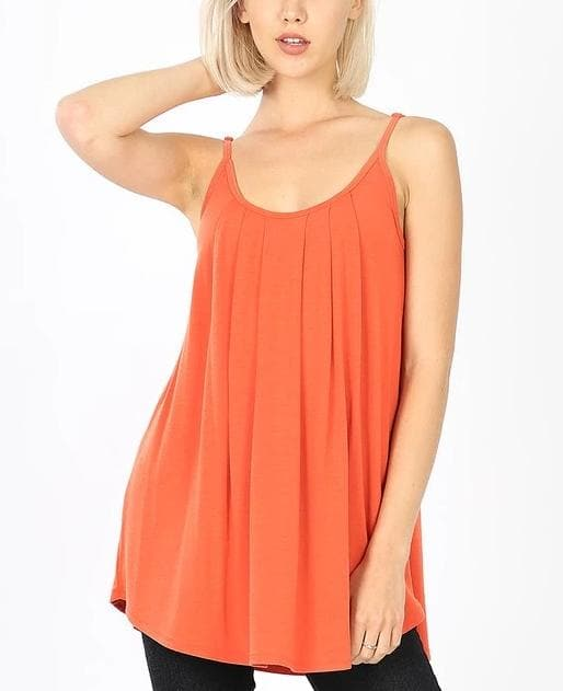 Doorbuster Pleated Cami with Adjustable Straps