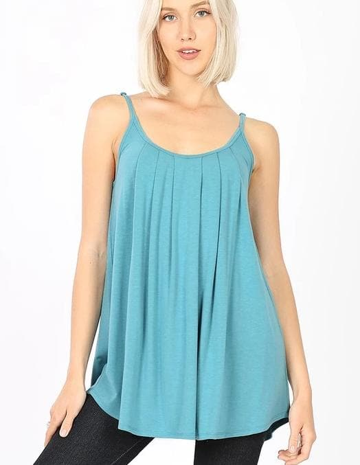 Pleated Cami with Adjustable Straps