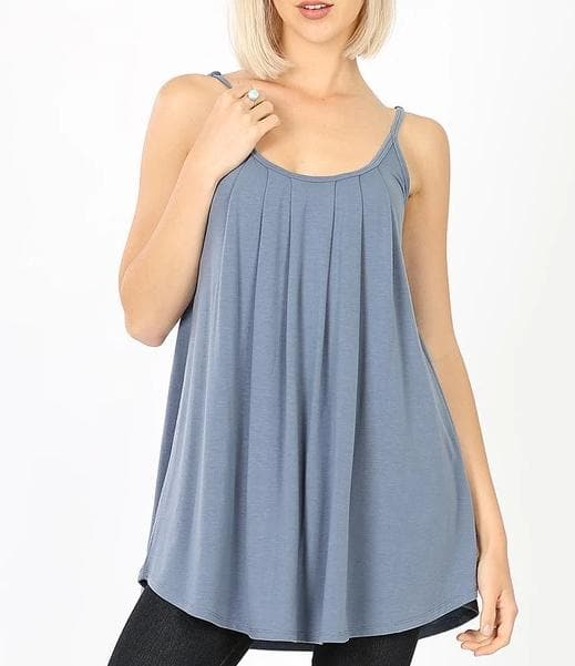 Plus Size Pleated Cami with Adjustable Straps