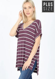 Plus Size Doorbuster Striped Cuff Sleeve Top