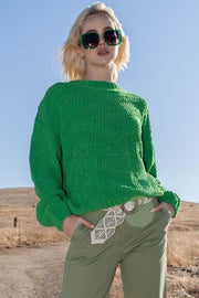 Pol - Chevron Chenille Knit Sweater with Fitted Waist Seam