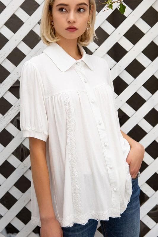 Pol - Button Down Top with Lace Trim Detail on Body and Hem