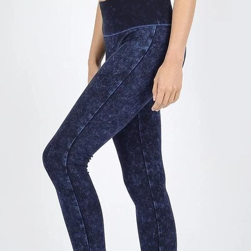 Mineral Washed Fold Over Waist Leggings