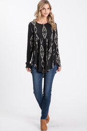 Long Sleeve Round Neck Aztec Print Baby Doll Top (S-3XL)