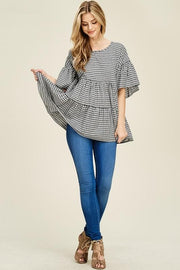 Poplin Gingham Ruffle Top with Ribbon on Back