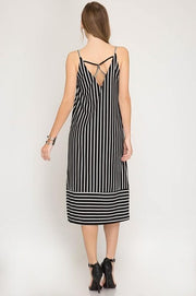 Contrast Stripe Cami V-Neck Midi Knit Dress