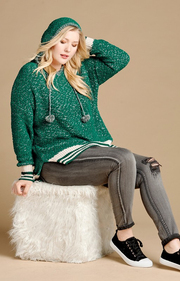 Plus Size Two-Tone Knit Hoodie Top Featuring Pom-Pom Tassle Drawstrings