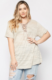 Lace Up Heathered Top