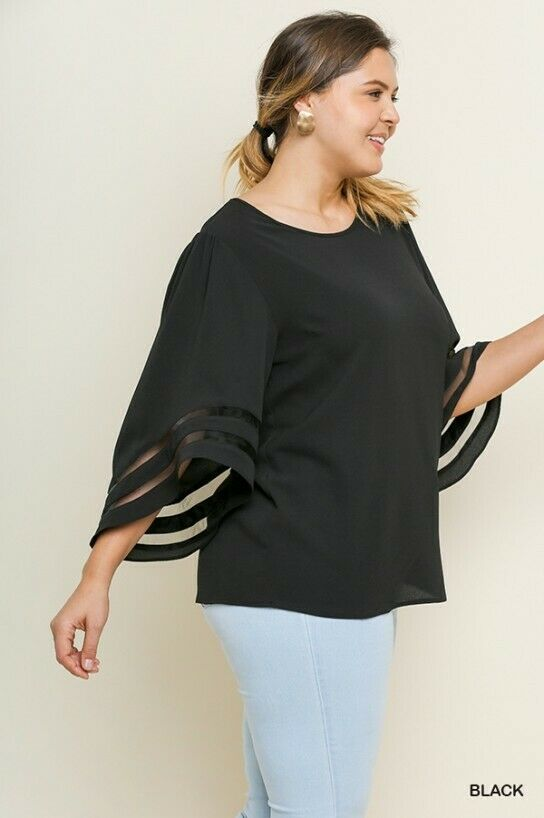 Plus Size Bell Sleeve Round Neck Top with Mesh Burnout Sleeve Detail