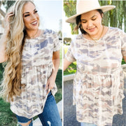Short Sleeve Camo Top With Back Detail (S-3XL)