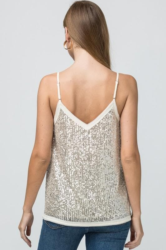 Sequin V-Neck Cami w/Trim Detail