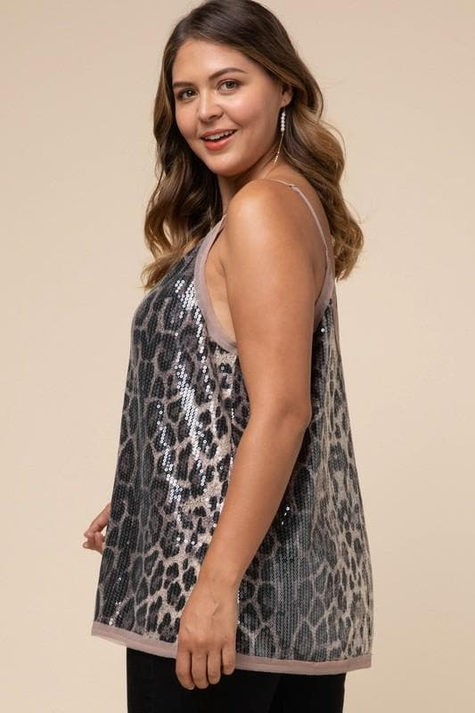 Plus Size Sequin Leopard Cami